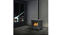 Suggested room setting for Banff 1100 Small Wood Burning Stove (shown in Metallic Black)