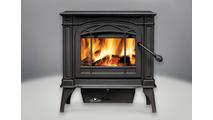 Banff 1400 Medium Wood Burning Stove shown in Metallic Black finish