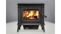 Banff 1400 Medium Wood Burning Stove shown in Metallic Black finish