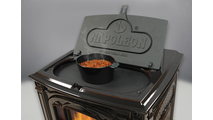 Solid cast iron hinged lift lid opens up for convenient quick cooking!