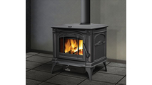 Suggested room setting for the Banff 1400 medium wood stove shown in Metallic Black