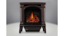 Bayfield Direct Vent Gas Stove in porcelain enamel Majolica Brown