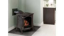Room setting with Bayfield direct vent gas stove shown in Majolica Brown