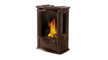Castlemore direct vent gas stove shown in Majolica Brown porcelain enamel finish