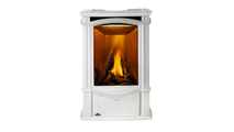 Castlemore direct vent gas stove shown in Winter Frost finish