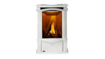 Castlemore direct vent gas stove shown in Winter Frost porcelain enamel finish