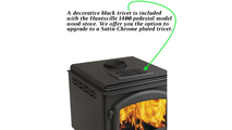 A black trivet comes standard with the Huntsville 1400 pedestal stove and is located on the top of the unit