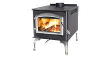 Huntsville 1400 Leg Model wood stove shown with Satin Chrome legs and door