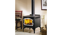 Suggested room setting for Huntsville 1400 leg model wood stove - shown with black elegant legs and satin chrome door
