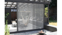 Maintain privacy in your secluded outdoor area with mesh metal curtain dividers