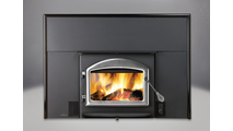 Oakdale 1101 Wood Fireplace Insert with Flashing Kit and Satin Chrome Arched Cast Iron Door