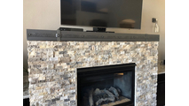 Customer submitted photo: Allegheny Steel Mantel Shelf in Antique Grey