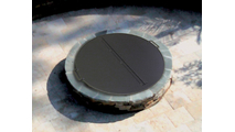 The 44 inch round folding fire pit cover can accommodate fire feature openings up to 42 inches in diameter.