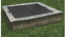The 44x44 inch square folding fire pit cover can accommodate fire feature openings up to 42 inches in diameter.