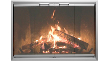 The Lytefury Zero Clearance Fireplace Door in Light Pewter finish