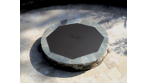 The 42 inch octagon fire pit snuffer cover can accommodate fire feature openings up to 40 inches in diameter.