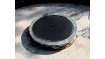 The 36 inch round fire pit snuffer cover can accommodate fire feature openings up to 34 inches in diameter.