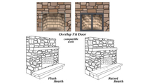 This overlap fit door is compatible with flush hearths and raised hearths ONLY