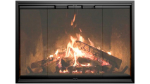 The Ragnarok prefab fireplace door in Anodized Black