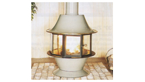 The gas burning Spin-A-Fire by Malm shown in Almond porcelain finish with matching base