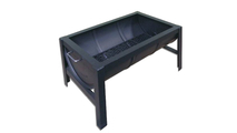 Steel Barrel Fire Pit shown with 4 post base and drop in grate