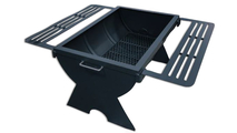 Barrel fire pit shown with end cap base and 2 drink rails
