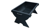 Barrel fire pit with end cap base and drop in grate