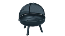 Round fire pit bowl with grate shown with round 4 leg base and optional pivot screen