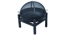 Round fire pit bowl with grate shown with square 4 leg base and optional dome screen