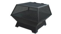 Rectangular Wood Fit Pit shown with grate and optional hinged safety screen