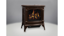 Knightsbridge Vent Free Gas Stove shown in Majolica Brown porcelain enamel finish