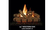 24 inch Western Oak Gas Log Set