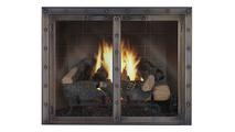 Black Rock Fireplace Door in Classic Bronze with burning log set