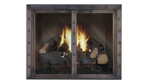 Black Rock Fireplace Door in Classic Bronze with burning log set