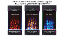 Lighting combo examples for the 32 inch Allure Vertical Electric Fireplace