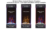 Lighting combo examples for the 38 inch Allure Vertical Electric Fireplace