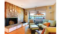 Arizona Weathered Oak gas log set in fireplace