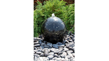 20″ Black Flower Granite Sphere Fountain