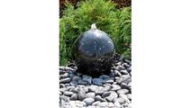 16″ Black Flower Granite Sphere Fountain