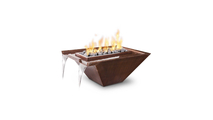 30 Inch Square Noja Hammered Copper Fire and Water Bowl