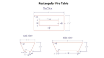 Dimension specs for the Olympus Rectangular Fire Table