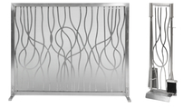 Abstract Fireplace Screen with Matching Tool Set