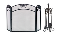 3-Fold Black Arched Screen with Matching Tool Set