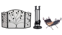 3- Fold Black Arched Screen with Matching Tool Set & Log Holder