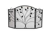 3-Fold Black Arched Leaf Design Screen