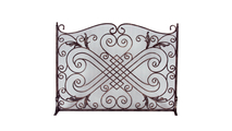 Copper and Black Arched Wrought Iron Panel Screen