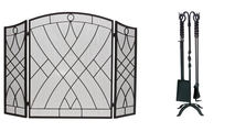 3-Fold Arched Weave Design Screen with Matching Tool Set