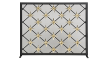 Black and Polished Brass Star Design Panel Screen