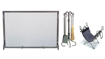 Natural Wrought Iron Screen with Matching Tool Set and Log Holder