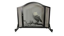 Owl Design Arched Panel Screen with Operable Doors